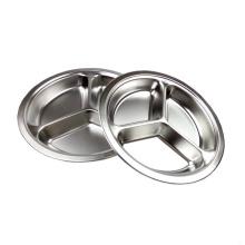 Bandeja de comida de acero inoxidable dividida en 3 compartimentos con tapa