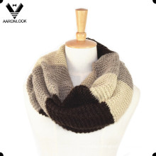 Unisex Acrylic Mohair Neck Scarf Stripe Knitted Pattern