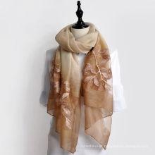Moda cachecol 2017 new arrival mulheres longo bordado floral lã e seda mistura cachecol xaile