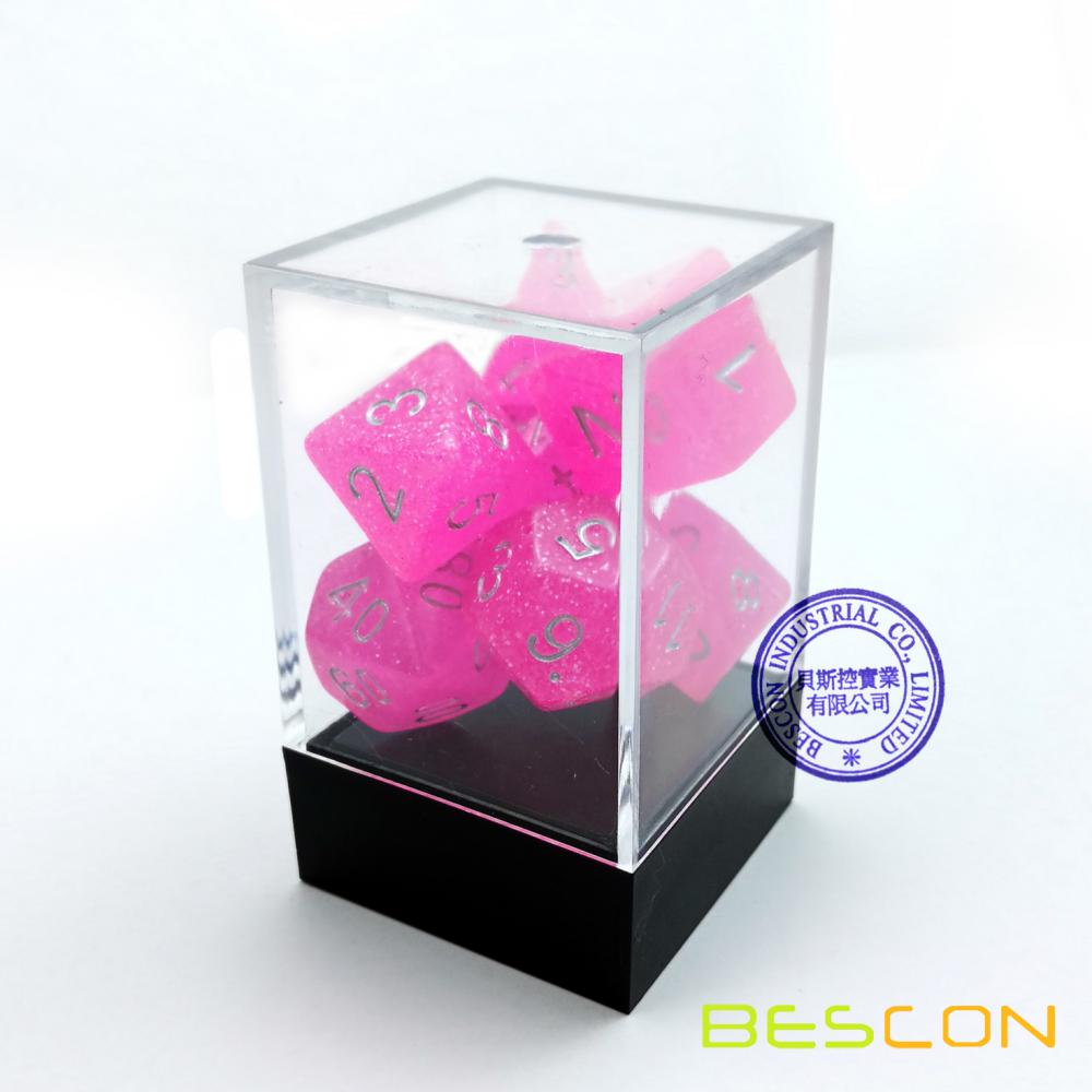 Bescon Intensive Glitter Dice 7pcs Set PINK PRINCESS, Novelty RPG Dice Set d4 d6 d8 d10 d12 d20 d%, Brick Box Packaging
