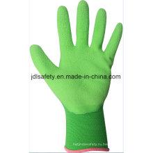 Красочные нейлон трикотажные перчатки работы с вспененного нитрила погружения (N1606)
