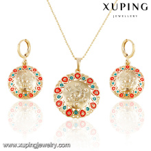 63886 Xuping fashion new designed gold plated women earring and pendant sets