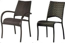 屋外スタック高 Pe 籐 Armless 椅子