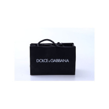 Logo de gaufrage personnalisé noir de luxe avec corde de coton