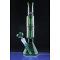 Pipa de cristal de la pipa del perno de la pipa doble del árbol para fumar (ES-GB-393)