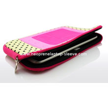 Cute Neoprene Ipad Tablet Case With Zipper Dot Print , Color Customized