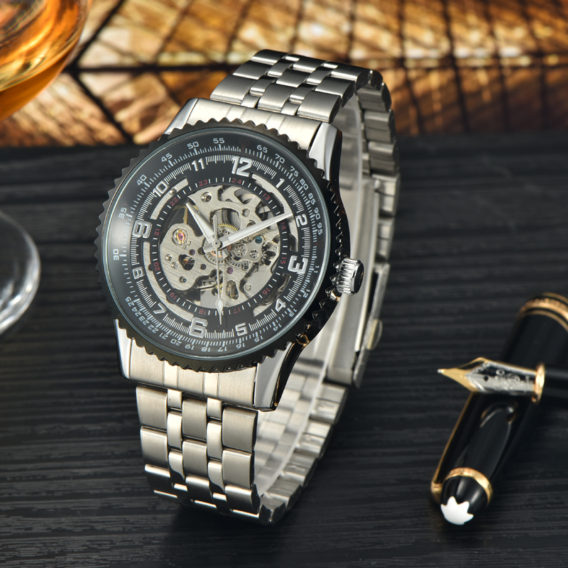 Hot sale clock steel mechanical watches men