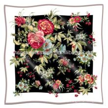 Lenço de seda nova flor padrão quadrado cachecol de seda ggt
