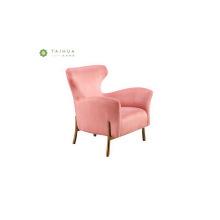 Living Room Pink Fabric Single Seater Sofa