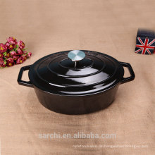Gusseisen-Emaille Ovel Dutch Oven Casserole, Obsidian Black