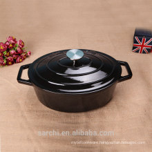 Cast Iron Oval Cocotte( French Oven)Bright Black