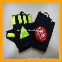 Gants de police de sécurité routière de demi de protection du soleil de doigt