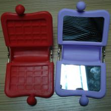 Hot Selling Square-Shape Mini Silicone Cosmetic Mirror &Mirror Bag