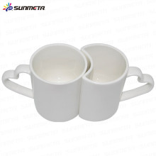 High Quanlity Bone China taza cerámica de los pares de la sublimación 11oz del color blanco