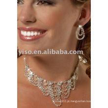 Conjunto de jóias de cristal e jóias de strass