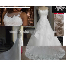 Graceful A Line Illusion Neckline Sleeveless Wedding Gown With Lace Appliques Long Tail Bridal Dress