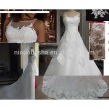Graceful A Line Illusion Neckline Vestido de casamento sem mangas com lombo Appliques Vestido de noiva de cauda longa