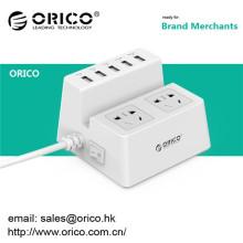 Venda por atacado ORICO ODC-2A5U 2 tomada elétrica com 5 USB HUB