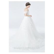 Astergarden flor sem moldura sem mangas A-line vestido de noiva ruffle Catedral vestido de casamento trem TS159