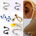 Stylish Multifunction Unisex S Twist Nose Lip Eyebrow Ring Earring Nose Stud
