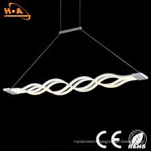Belle lumière de forme d'onde double LED intérieure pendentif décoratif en cristal