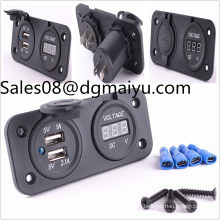 Dual Ubs Car Charger + Vehicle Voltage Meter Assembly for Vehicle