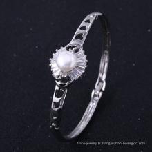 Bracelet en plaqué or blanc New York avec perle