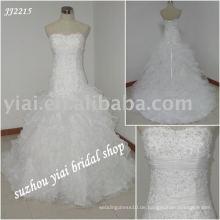 Einzigartige Ballart glänzendes ärmelloses Hochzeitskleid JJ2215
