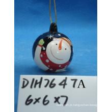 Bauble de boneco de neve cerâmico para decoração de árvore de natal