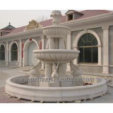 Fontaine en pierre de marbre en pierre avec fontaine de sculpture sur jardin (SY-F357)