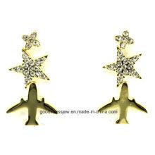 La joyería de lujo de los encantos de la manera de los pendientes del perno prisionero de la estrella del plano del aire 2015 nuevo para los accesorios punkyes E6343 del pendiente de plata de las mujeres