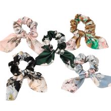 Silk Fabric Ribbon Print Rabbit Bunny Ears Scrunchies Elastic Hair Bands Rubber for Girl Women Bun Head Tie Hair Accessories