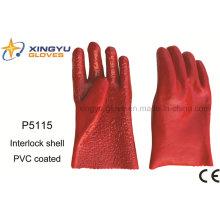 Хлопок Interlock ПВХ покрытием безопасности работы перчатки (P5115)