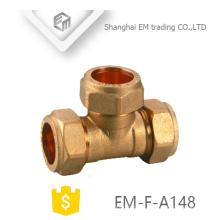 EM-F-A148 Latão conector rápido Tee compressão pex pipe fitting