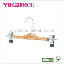 2013 New style wooden skirt hanger with metal clips