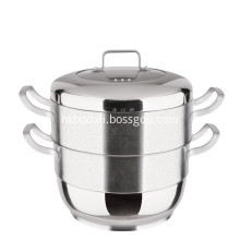 Kitchen Cookware Stainless Steel Double-Layer Steamer Pot