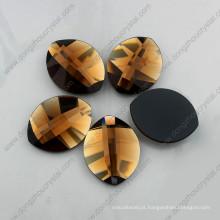 Pedra de vidro de forma de folha dourada para acessórios de jóias