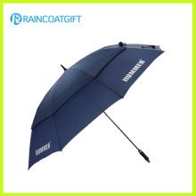 Guarda-chuva relativo à promoção feito sob encomenda à prova de vento do golfe da fibra de vidro do dossel dobro de 30 polegadas