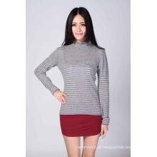 Moda suéter listrado de cashmere (1500008063)