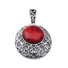 Red Jasper 20MM Cabochon Alloy Gemstone Pendant