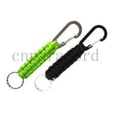Fluro green and black paracord keychain 18cm alloy carabiner