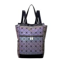 Bolso de mano y paquete de mochila de poliuretano luminoso geométrico