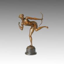 Sport-Statue Weibliche Bogenschütze Bronze-Skulptur, Milo TPE-123