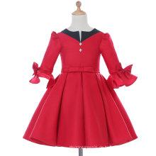Langes Hülsen-Weiß / Rot Entwerfer-Blumen-Mädchen-Kleid für Hochzeit und Zeremoniell