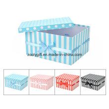 Venda Por Atacado DOT / Stripe Impressão Paper Gift Nesting Box com Ribbon