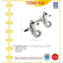 Metal abotoaduras de gemas de hipocampo / cavalo marinho para acabamento banhado a prata