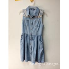 Denim Fabric 100% Cotton Women Clothes Dress Shirt Fashion Jeans Apparel 100% Cotton