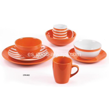 Ornage color vajilla de porcelana y gres