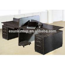 Eiche Holz Finishing schwarze Farbe Bildschirm Büromöbel Schreibtisch