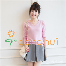 100% cashmere V-neck pullover sweater for women